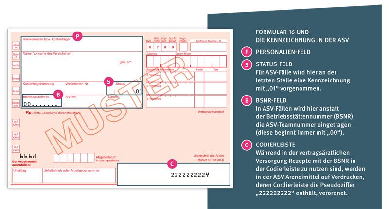 Abbildung Formular 16 und die Kennzeichnung in der ASV