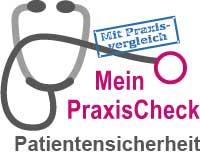 """Piktogramm Stethoskop mit Text """"Mein PraxisCheck Patientensicherheit"""""""