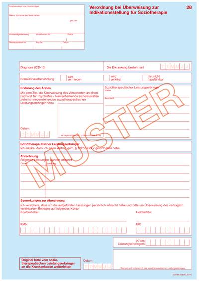 muster 28 verordnung bei berweisung zur indikationsstellung fr soziotherapie im umfang von maximal 5 therapieeinheiten pdf 809 kb - Uberweisung Muster