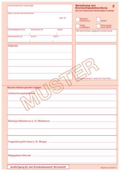 KBV - Verordnungsvordrucke und Hinweise für die Krankenhauseinweisung