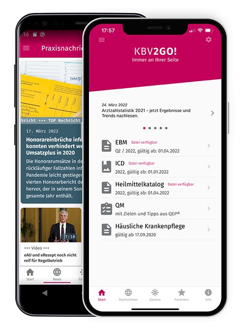Smartphones mit der KBV2GO!-App