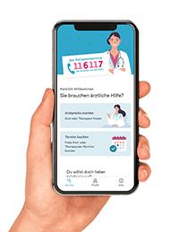 Hand hält Smartphone mit 116117-App