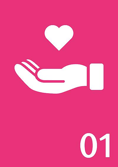 Symbolbild: Hand mit Herz, Zahl 1
