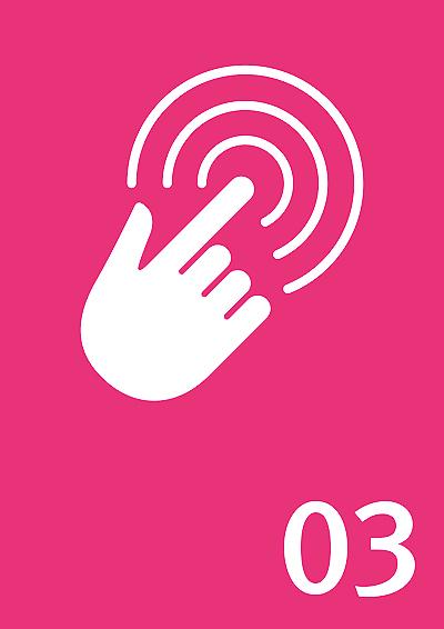 Symbolbild: Finger tippt auf Bildschirm, Zahl: 03