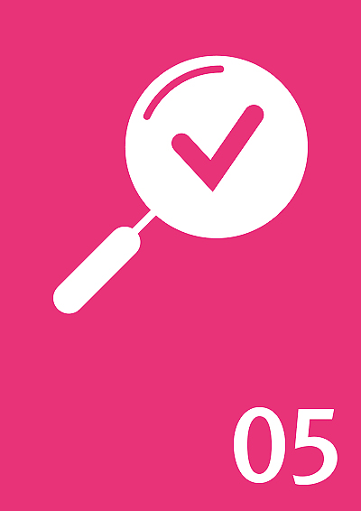 Symbol: Lupe mit Haken, Zahl: 05