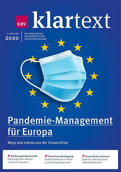 Titel zum KBV-Klartext zeigt Mund-Nasen-Schutz vor dem EU-Logo
