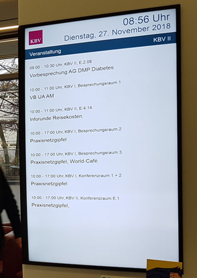 Bildschirm mit Terminen in der KBV
