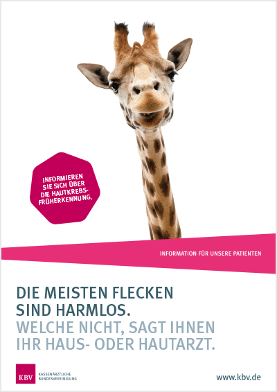 Plakat Hautkrebs-Check mit Abbildung einer Giraffe