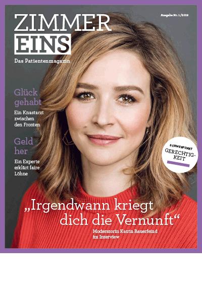 """Titelseite des Magazins """"ZIMMER Eins"""" mit dem Schwerpunktthema Gerechtigkeit. Das Bild zeigt die Moderatorin Katrin Bauerfeind."""