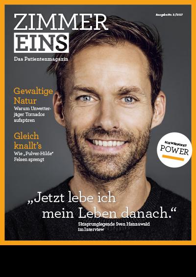 """Das Titelbild des Patientenmagazins """"Zimmer 1"""" zeigt Sven Hannawald"""