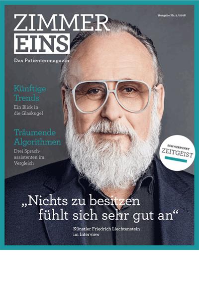 """Titelseite des Magazins """"ZIMMER Eins"""" mit dem Schwerpunktthema Zeitgeist. Das Bild zeigt den Künstler Friedrich Liechtenstein."""