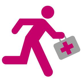 Symbol. Arzt läuft mit Arztkoffer in der Hand zum Bereitschaftsdiensteinsatz