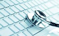 Stethoskop-Kopf auf PC-Tastatur