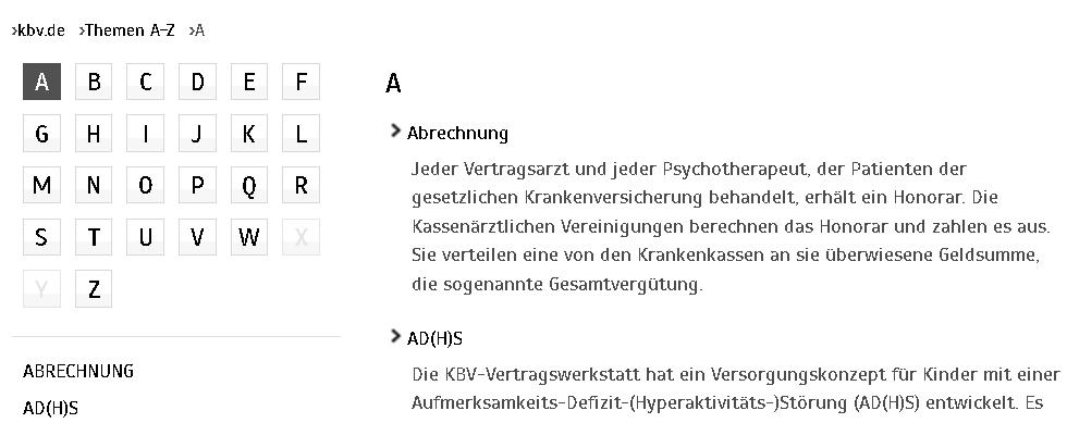 Bildschirm-Foto der Buchstaben-Tafel im Bereich Themen A-Z auf www.kbv.de