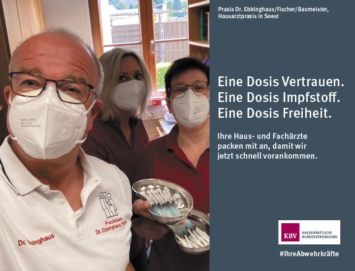 Praxis Dr. Ebbinghaus/Fischer/Baumeister, Hausarztpraxis in Soest  Eine Dosis Vertrauen.  Eine Dosis Impfstoff.  Eine Dosis Freiheit.  Ihre Haus- und Fachärzte  packen mit an, damit wir  jetzt schnell vorankommen.
