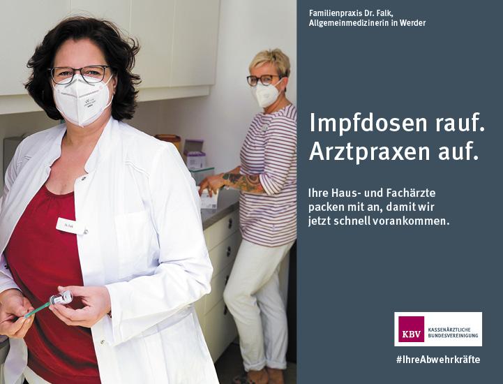Familienpraxis Dr. Falk,  Allgemeinmedizinerin in Werder. Impfdosen rauf.  Arztpraxen auf.  Ihre Haus- und Fachärzte  packen mit an, damit wir  jetzt schnell vorankommen.